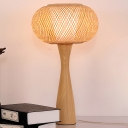Beige Flared Desk Light Asian 1 Head Wood Task Lighting with Handwoven Bamboo Shade