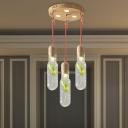 Bottle Living Room Cluster Pendant Vintage 3/5/7 Heads Wood LED Plant Suspension Lighting Fixture