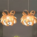 Wood Laser Cut Pendant Light Japanese 1 Bulb Suspended Lighting Fixture in Beige