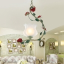 1-Bulb Suspension Pendant Countryside Bloom White Glass Ceiling Light for Living Room