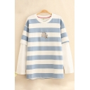 Lovely Milk and Mouse Printed Fake Two Piece Patch Long Sleeves Blue and White Striped Sweatshirt