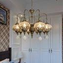 Clear Crackle Glass Radial Chandelier Vintage 8 Bulbs Restaurant Ceiling Pendant Lamp in Bronze