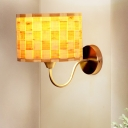 Beige Drum Sconce Asia 1 Head Wood Wall Mounted Light Fixture with Metal Curved Arm