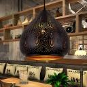 1 Head Metal Ceiling Lamp Vintage Black Carved Restaurant Pendant Lighting Fixture