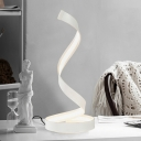 LED Spiral Task Lighting Minimalism Acrylic Nightstand Lamp in White for Living Room