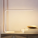 Minimalist LED Desk Light White/Coffee Linear Night Table Lamp with Acrylic Shade, White/Warm Light