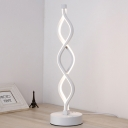 LED Bedroom Table Light Minimalist White Nightstand Lamp with Spiral Acrylic Shade in White/Warm Light