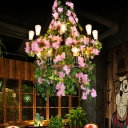 Metal Pink Hanging Chandelier 2 Tiers 14 Lights Industrial LED Pendant Lighting with Flower Decor