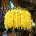 Industrial Flower Ceiling Pendant 1 Head Metal Hanging Light Fixture in Yellow/Blue for Restaurant