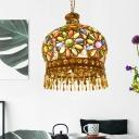 3 Bulbs Metal Chandelier Pendant Light Vintage Brass Dome Living Room Down Lighting