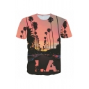Men's Popular Coconut Trees Letter LA Printed Short Sleeves Round Neck 3D T-Shirt