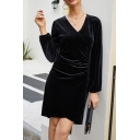 Female Elegant Surplice Neck Long Sleeves Ruched Detail Keyhole Zipper Back Plain Velvet Commuting Tulip Dress