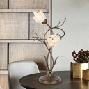Traditionalist Bloom Nightstand Lamp 2 Bulbs Frosted White Glass Table Light in Brass