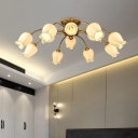 12 Heads Bloom Ceiling Light Fixture Countryside White/Clear Glass LED Semi Flush Mount Lighting