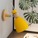 Metal Flare Sconce Light Contemporary 1 Head Yellow Wall Mounted Lamp with Adjustable Arm