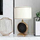 White 1 Light Table Lamp Traditionalist Crystal Circle Nightstand Light with Cylindrical Fabric Shade