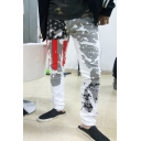 Men's Simple Stripe Star Printed Stretch Fit White Jeans Zipper Fly Casual Pants