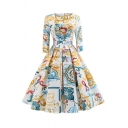 Formal Retro Long Sleeve Boat Neck All Over Floral Printed Long Pleated Flared Dress for Girls