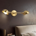 2 Bulbs Bedroom Sconce Modern Brass Wall Mounted Lighting with Domed Metal Shade