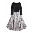 Formal Women's Long Sleeve Boat Neck Zipper Back Snake Print Patched Long Pleated Swing Dress