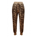 Gold Fashion Drawstring Waist Leopard Pattern Cuffed Ankle Tapered Pants for Female