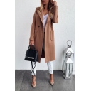 Fancy Chic Womens Plain Long Sleeve Lapel Neck Pockets Side Long Loose Wool Coat