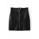 Cool Street Girls' High Rise Zipper Front Pockets Side Leather Bodycon Skirt in Black