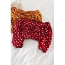 Womens Lovely Polka Dot Printed Off the Shoulder Puff-Sleeve Ruched Detail Blouse Top