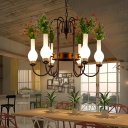 Metal Brass Chandelier Lamp Vase 6 Lights Industrial Hanging Ceiling Light with Flower Decor for Restaurant