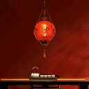 Art Deco Lantern Hanging Lighting 1 Head Red/Blue Ice Cracked Glass Ceiling Pendant Lamp for Restaurant