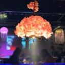 Vintage Candle Chandelier Light Fixture 3 Heads Metal Flower Pendant Lamp in Pink for Restaurant