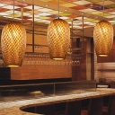 Hand-Worked Pendant Lighting Japanese Bamboo 1 Bulb Hanging Ceiling Light in Brown
