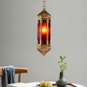 1 Bulb Hanging Light Fixture Art Deco Hallway Suspension Pendant Lamp with Geometric Red Glass Shade in Brass