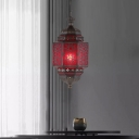 Red Glass Lantern Hanging Lighting Art Deco 1 Head Restaurant Pendant Lamp Fixture with Chain