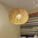 Global Pendant Lamp Chinese Bamboo 1 Head Beige Suspended Lighting Fixture, 8