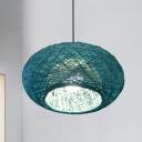 1 Bulb Restaurant Hanging Lamp Asia Blue Ceiling Pendant Light with Lantern Rattan Shade