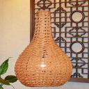 1 Head Hand-Woven Pendant Lighting Chinese Rattan Ceiling Suspension Lamp in Beige