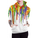 Unique Popular Color Block Splash Paint Ice-Cream 3D Pattern Long Sleeves Pullover Hoodie