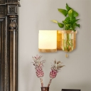 Vintage Cylindrical Wall Light Fixture 1 Head White Glass LED Wall Sconce Lighting in Wood without Plant, Left/Right