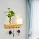 Cream Glass Wood Wall Sconce Cylindrical 1 Bulb Retro LED Wall Mount Light without Plant for Living Room, Left/Right