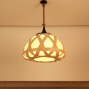 1 Head Living Room Ceiling Lamp Asian Beige Hanging Pendant Light with Domed Wood Shade