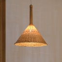 1 Bulb Restaurant Ceiling Lamp Asian Flaxen Hanging Light Fixture with Conical Bamboo Shade
