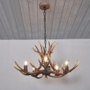 Antler Resin Chandelier Lamp Traditional 5 Lights Dining Room Pendant Lighting in White/Brown and Yellow with/without Shade