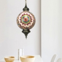 Red/Yellow/Blue 1 Head Pendant Lighting Art Deco Stained Glass Round Shade Ceiling Lamp Fixture