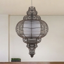 Chinese 1 Bulb Ceiling Light Coffee Gourd Pendant Lighting Fixture with Rattan Shade