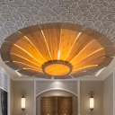 Chinese Flying Saucer Semi Flush Mount Wood 1 Bulb Ceiling Light Fixture in Beige