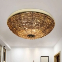 Bowl Flush Mount Asian Rattan 3 Bulbs Brown Close to Ceiling Lamp for Living Room