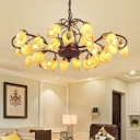 Metal Floral Chandelier Light Fixture Traditional 25 Lights Living Room LED Ceiling Pendant in Brass