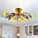 12 Lights Metal Semi Flush Light Traditional Brass Tulip Living Room LED Close to Ceiling Lighting