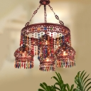 Traditional Round Chandelier Lighting Fixture 4 Heads Metal Drop Pendant in Copper for Dining Room